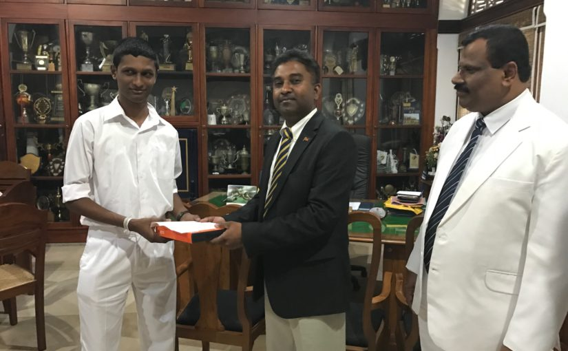 Commendation Letter & Gift to RC Computer Society Student Sachith Gamage